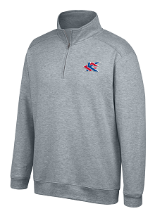 Image For Gray Heritage Triblend 1/2 Zip Crew