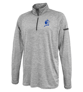 Image For Silver 1/4 Zip Blue Devil Long Sleeve Sports Tee