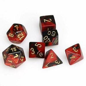 Cover Image For Gemini Black Red and Gold Dice Set
