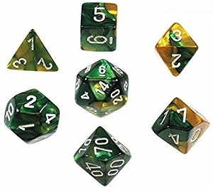 Cover Image For Gemini Gold Green and White Dice Set