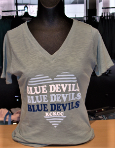 "Image For ""Heart"" Blue Devils Womens Greenstone Tee"