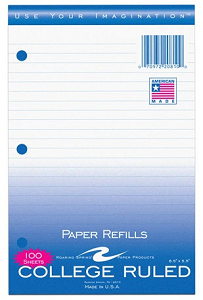 Image For 100ct Small College Ruled Filler Paper