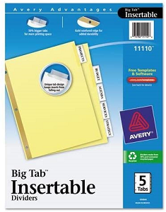 Image For 8 1/2x11 5 Tab Index Dividers