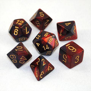 Image For Gemini Purple Red and Gold Dice Set