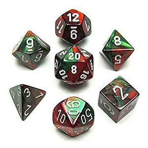 Image For Gemini Green Red and White Dice Set